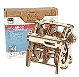 UGEARS STEM Lab 3D Puzzles - Spielset STEM - 3D Holzbausatz - DIY Mechanical Science Kit - Wissenschaftliches STEM Spielzeug mit App Holzmodell Kits für Erwachsene und Kinder 8+ (Schaltgetriebe)